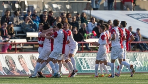 Celebrations for opposing teams, including this one by Ottawa Fury FC during their 4-2 win at Carroll Stadium, were a common sight in a Spring Season that saw Indy Eleven concede 20 goals.